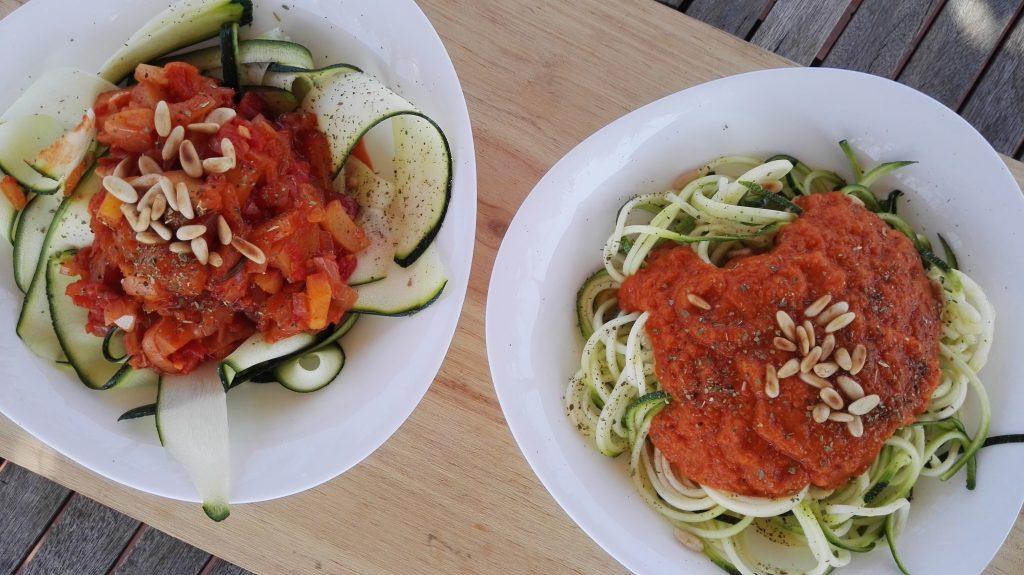 pasta in tomatensaus 2 varianten
