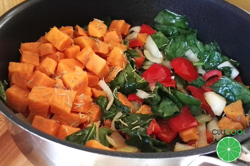 eenpansgerecht met zoete aardappel - pan